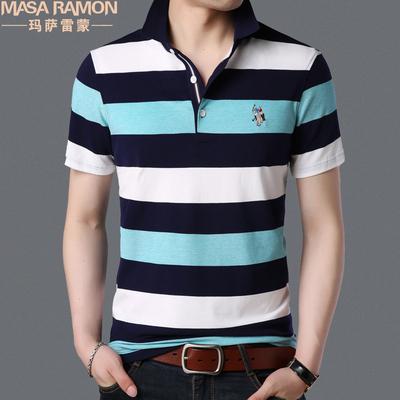 夏季男装条纹翻领短袖t恤显年轻休闲丅血半袖保罗体恤中年POLO衫