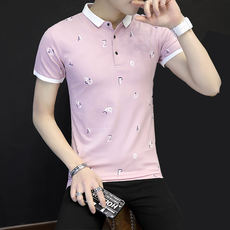 Summer cotton short sleeve compassionate young ladies small lapel POLO shirt business casual men floral stitching T shirt tide