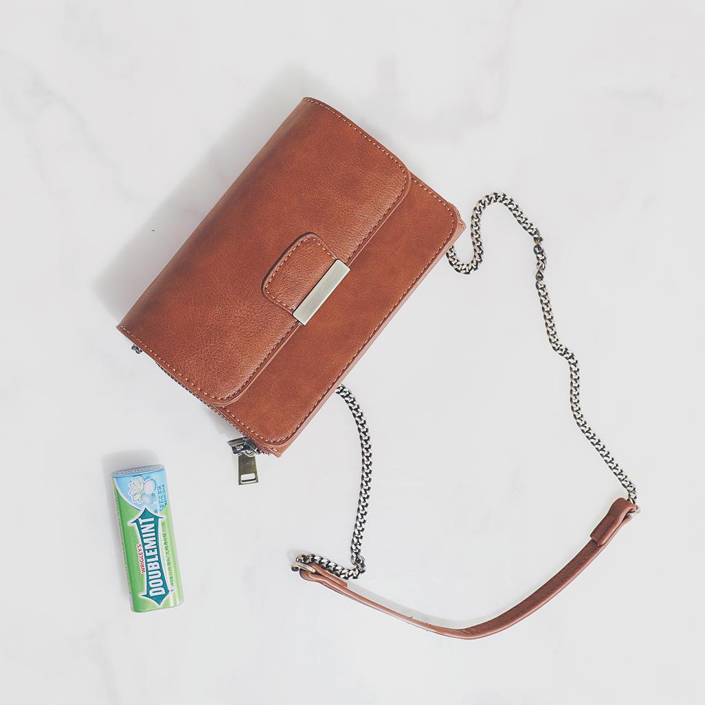 日韩链条小方包单肩斜挎盒子包休闲复古双开口女式手机包磁扣女包