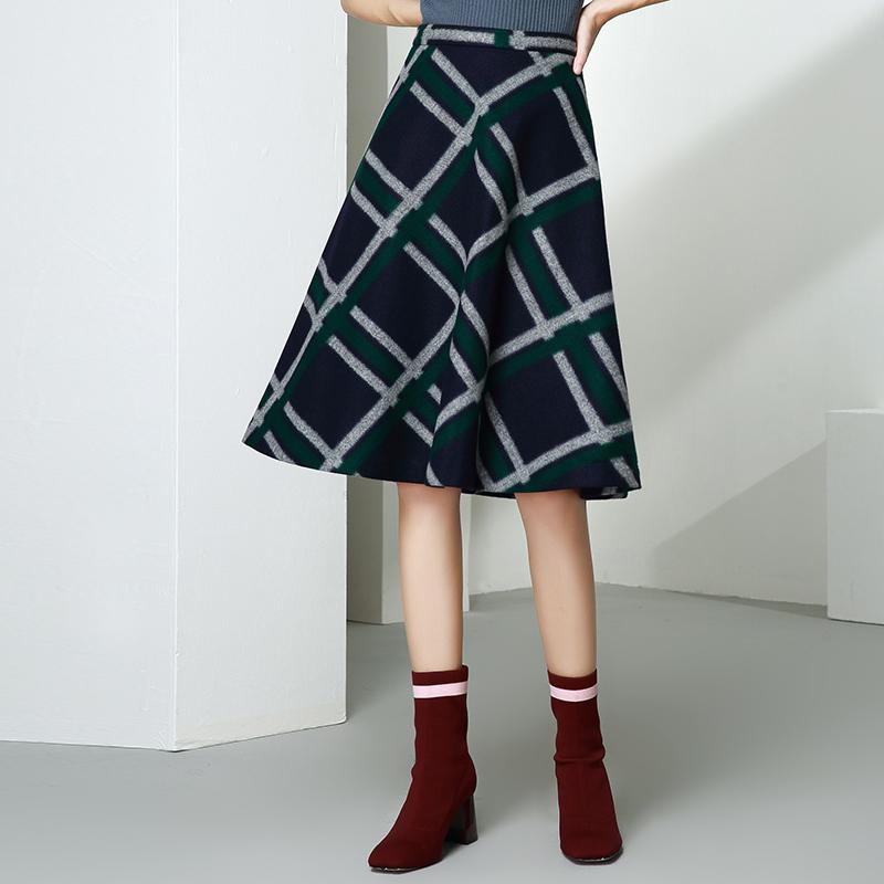 ONEBUYE晚白 秋冬短裙女羊毛呢半身裙高腰呢子冬裙格子A字裙中裙