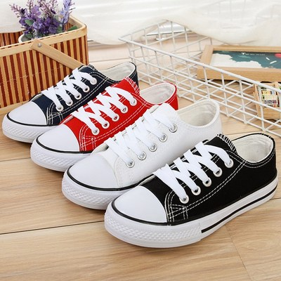 Children's low-grade canvas shoes boys black and white cloth shoes girls students flat casual shoes children's shoes ball shoes