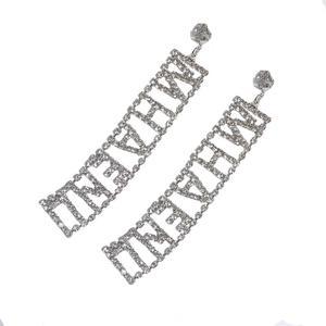 925银针防过敏宋茜同款镂空字母韩国气质长款简约个性ins耳环夜店
