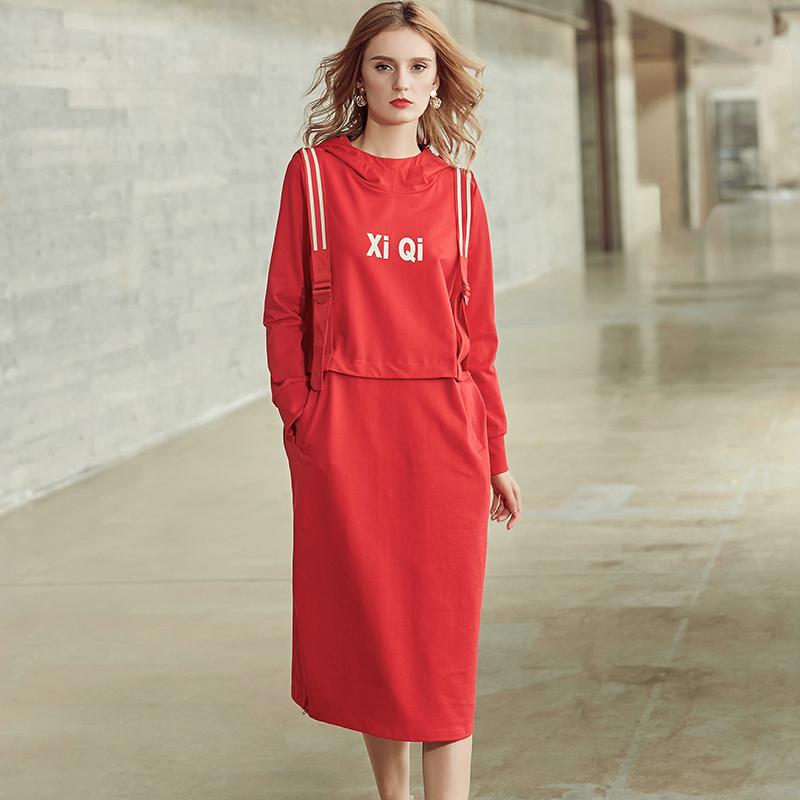 FVKK2018秋装新款韩版印花宽松长袖带帽套头卫衣裙休闲长款连衣裙