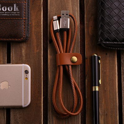 Creative leather fast charging data cable 6S/7P Android V8 universal 3.4A mobile phone accessories pure copper wire steady charge
