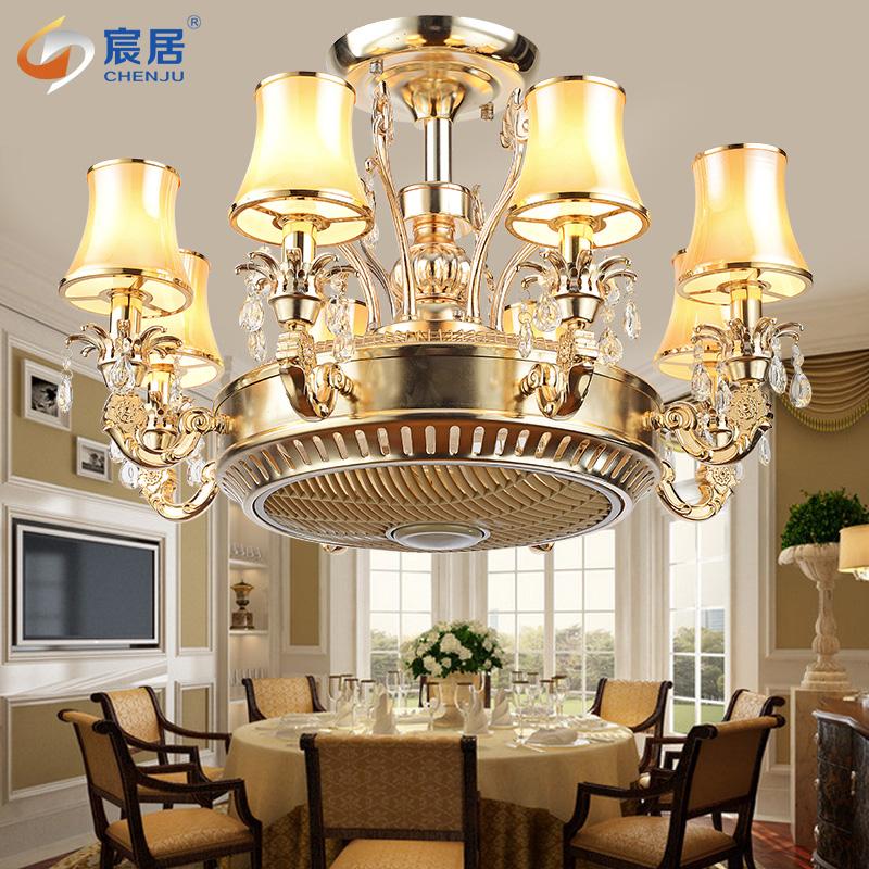 负离子客厅水晶隐形风扇灯美式简约餐厅遥控电扇灯欧式豪华吊扇灯