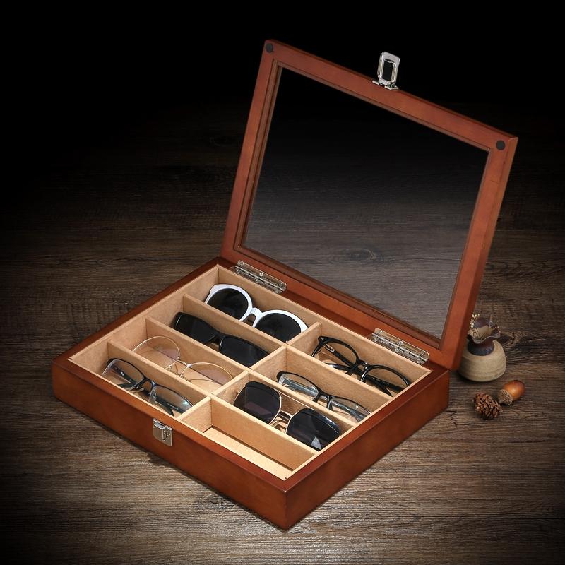 罗威木质墨镜眼镜收藏盒子多格玻璃透明带锁珠宝首饰展示收纳盒