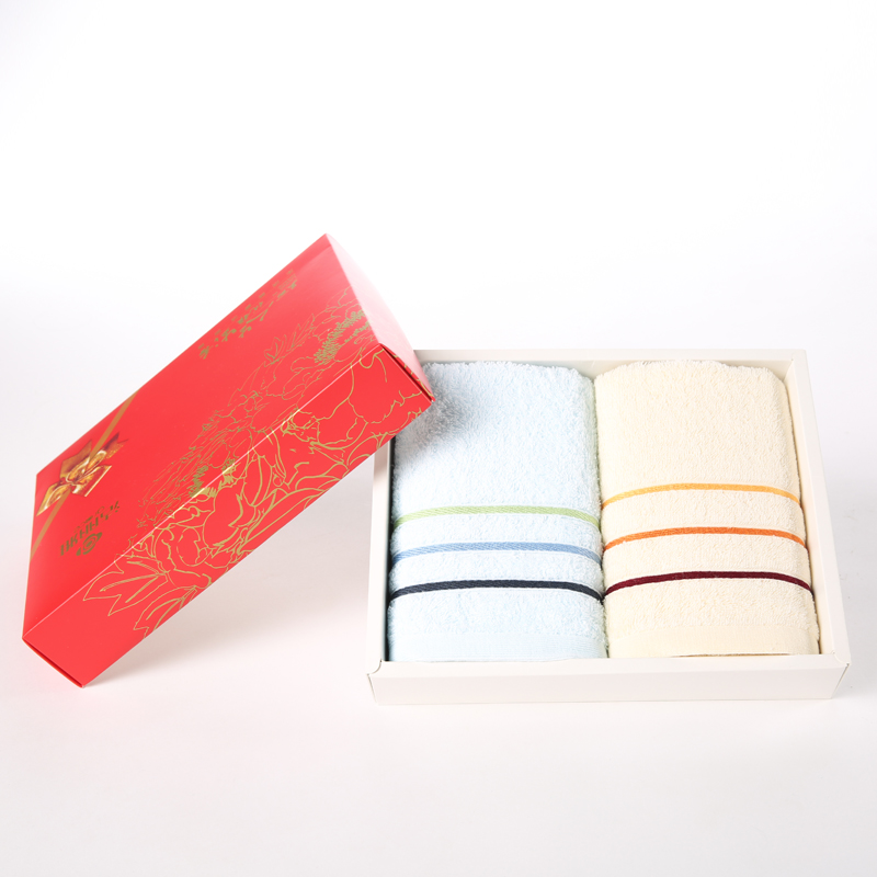 洁丽雅纯棉 2条装可绣字 毛巾礼盒结婚庆商务回礼福利套装礼盒