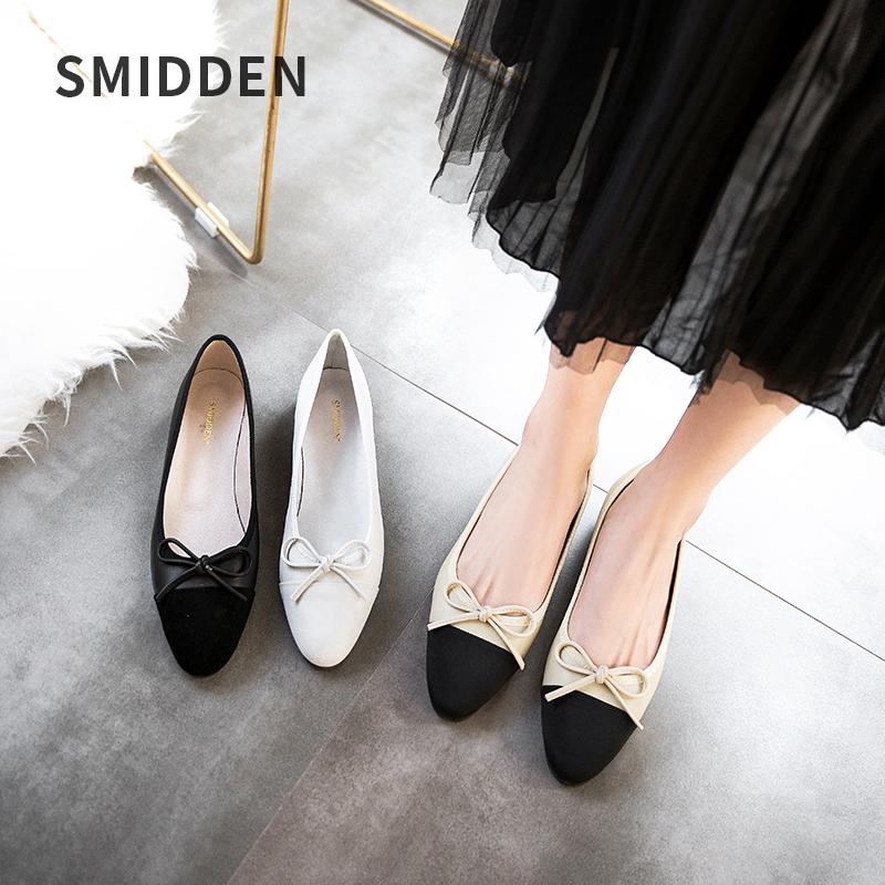 SMIDDEN-史美登韩版牛皮蝴蝶结单鞋圆头浅口平底鞋芭蕾舞平跟女鞋