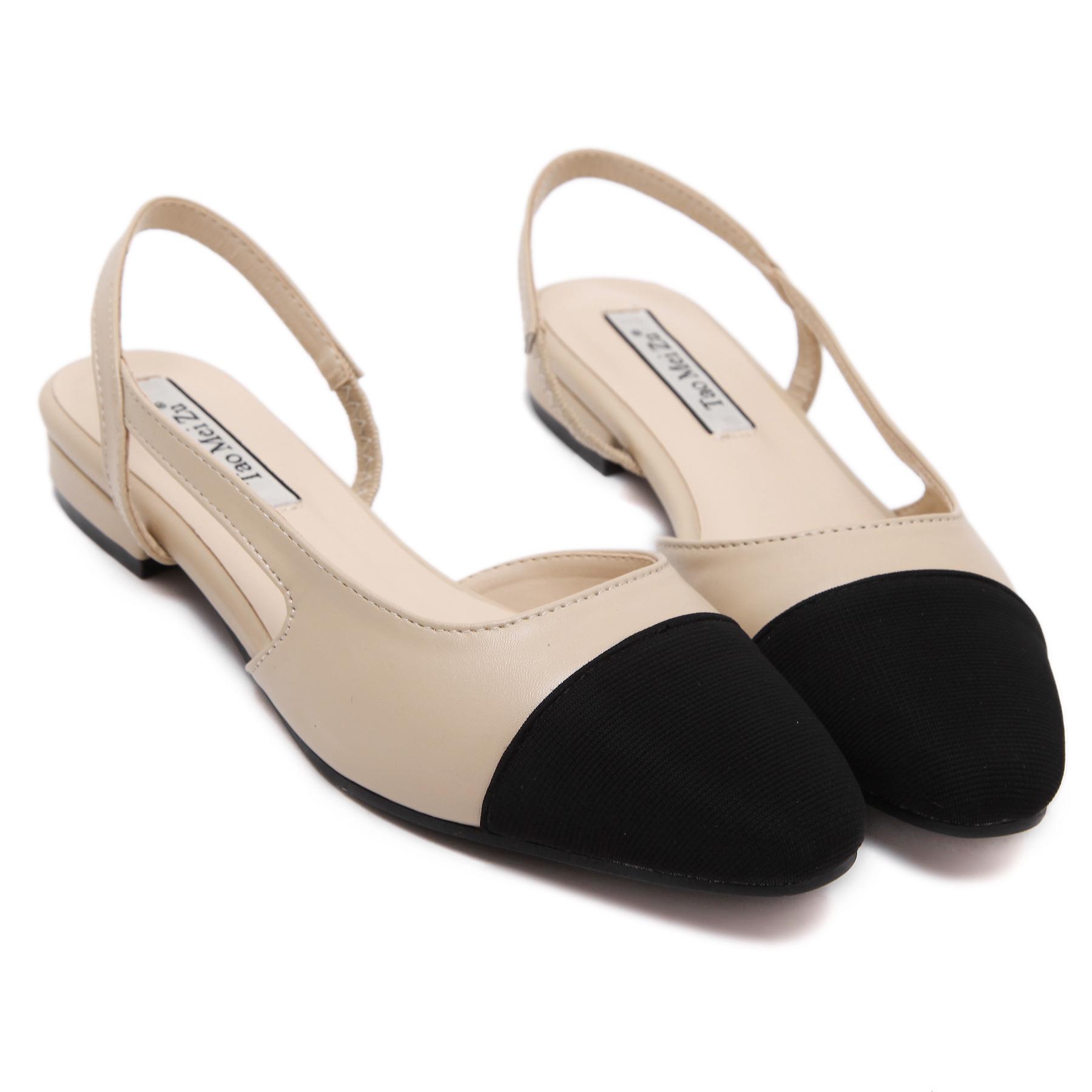 韩版女鞋真皮低跟欧美平跟双色鞋女包头凉鞋粗跟拼色小香风平底鞋
