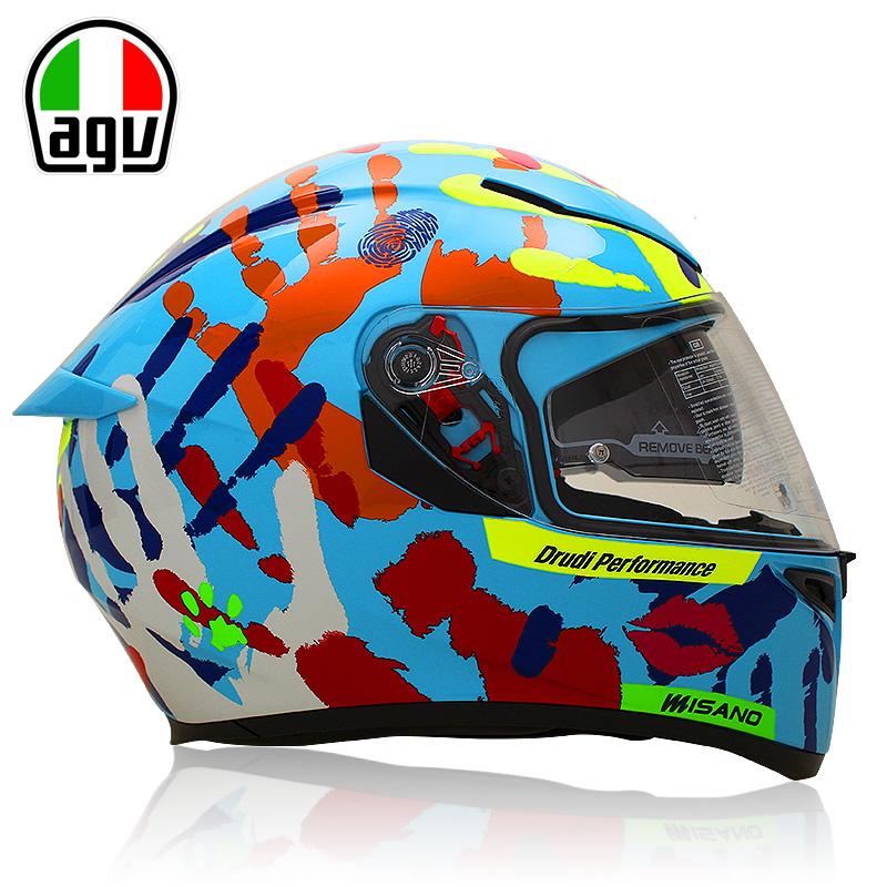 AGV K3 SV摩托车头盔双镜片全盔 防雾赛车盔秋冬全覆式头盔男女