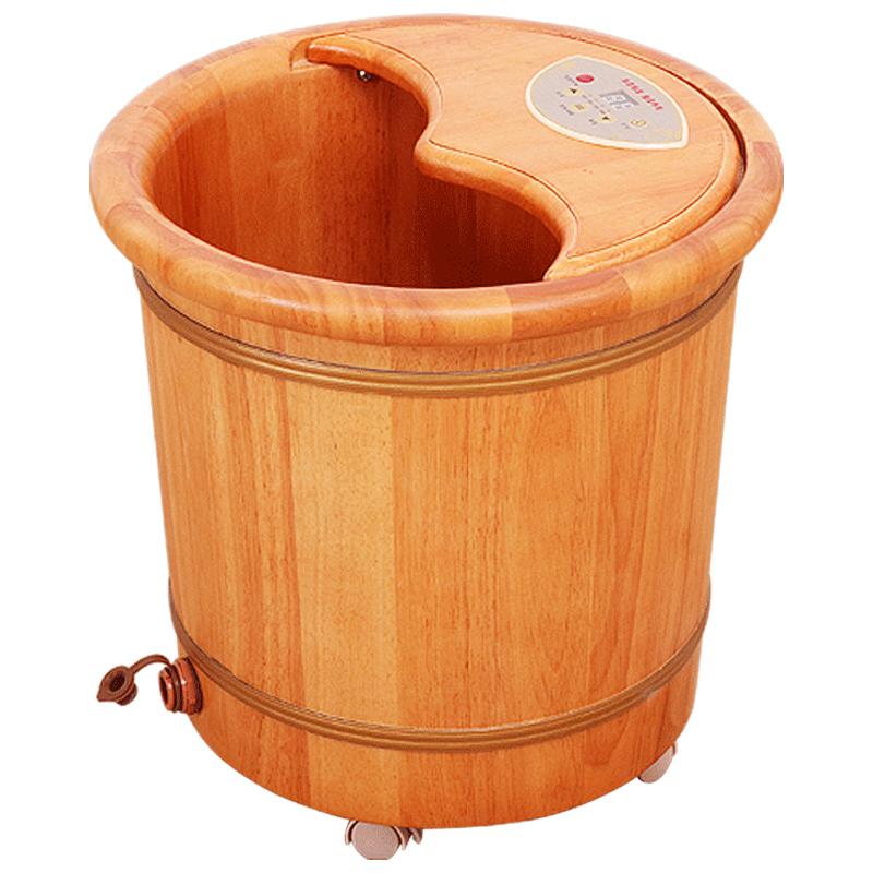 百年羚泡脚桶恒温桶加热泡脚木桶橡木加高足浴盆电加热洗脚盆