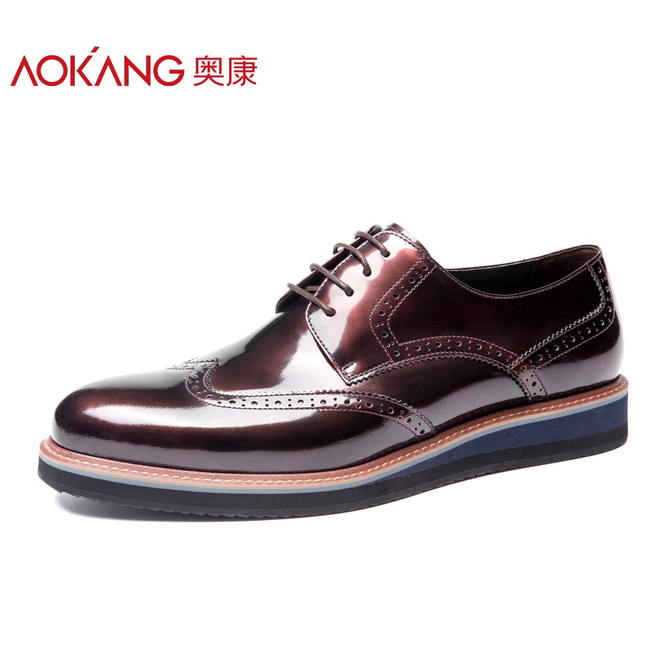 奥康男鞋2018秋季新品皮鞋韩版潮流英伦男士商务正装英伦布洛克男
