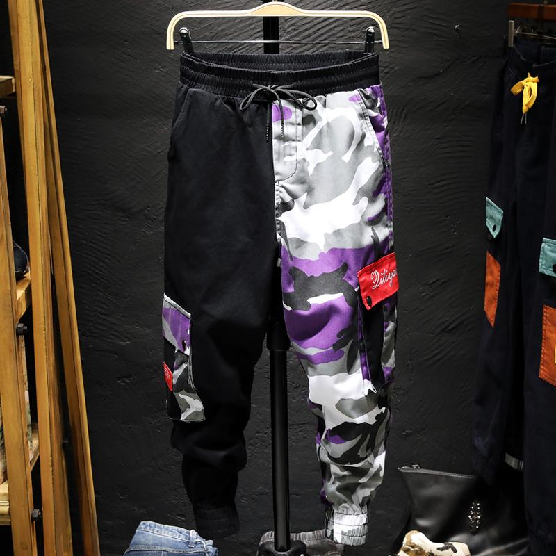 秋季迷彩花裤子男宽松休闲裤男小脚哈伦日系潮牌工装裤束脚裤嘻哈