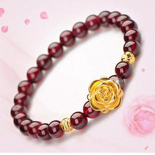 【多款任选哦】新款经典女式爱心貔貅转运金珠玫瑰花 石榴石手链