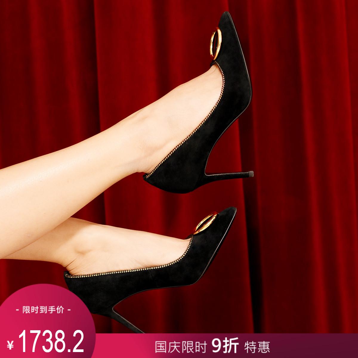 STELLA LUNA夏季2018新款高跟鞋尖头时尚女鞋金属装饰细跟单鞋