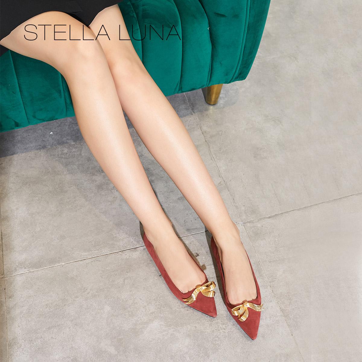 STELLA LUNA18秋季新款羊反毛浅口优雅尖头平底鞋chic通勤女单鞋