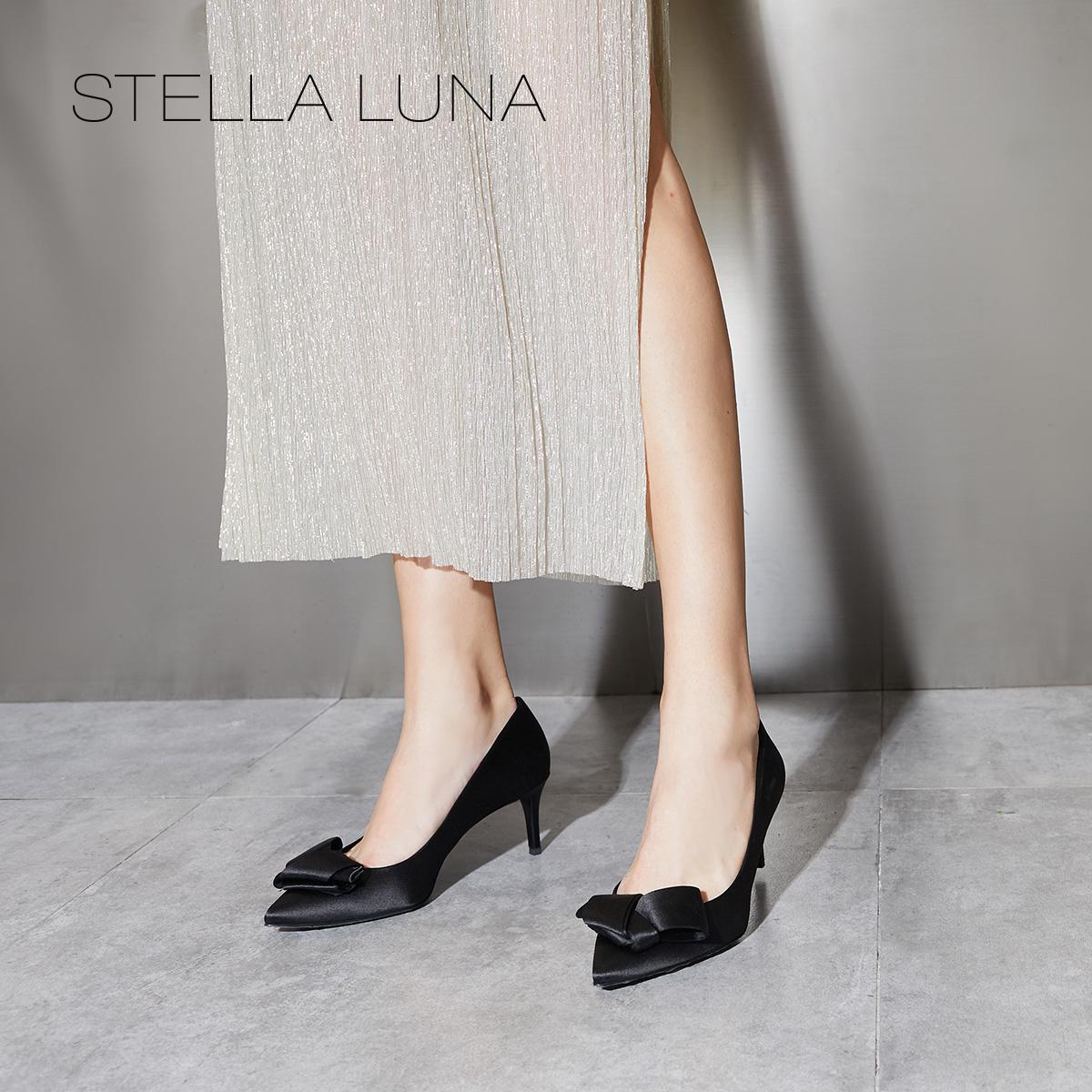 STELLA LUNA早秋沙丁布蝴蝶结细高跟女士单鞋婚鞋 SH333F02208