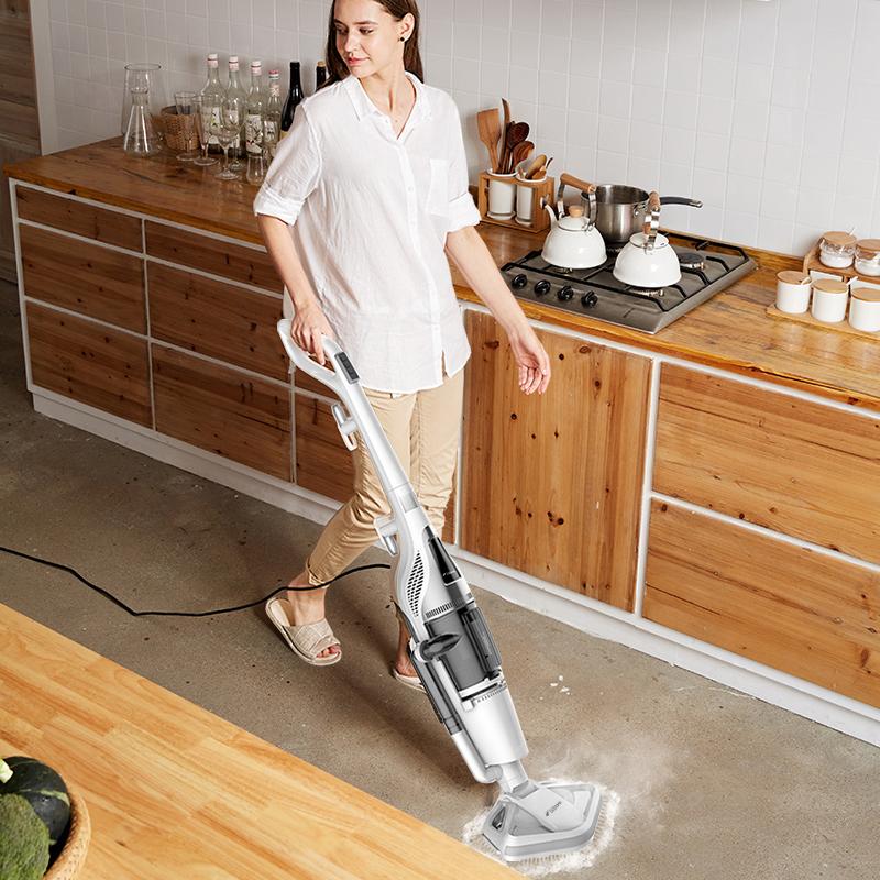 ?德尔玛蒸汽拖把家用电动拖地吸尘器多功能扫地机高温杀菌二合一