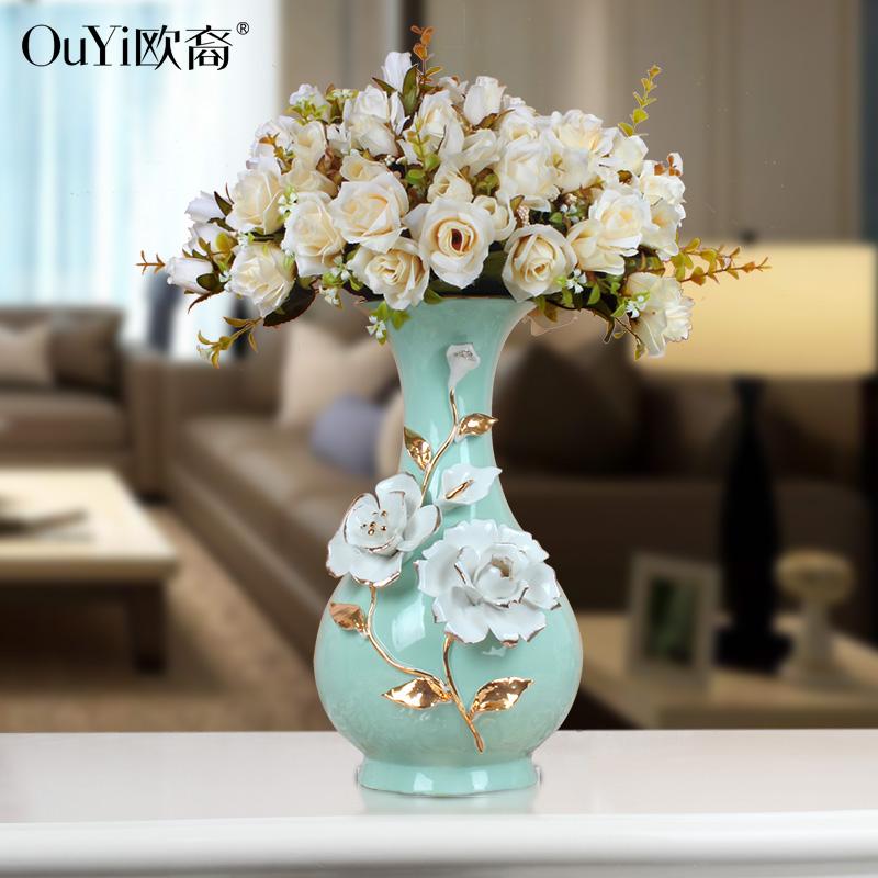 现代家居摆件花插会所花器陶瓷客厅电视柜玫瑰花瓶结婚礼物