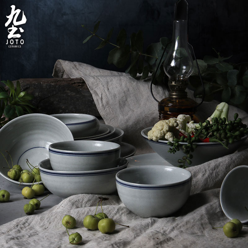 About Nine soil of Chinese style restoring ancient ways ceramic household tableware suit nostalgic rice bowls bowl rainbow such as bowl dish plate round flat plate