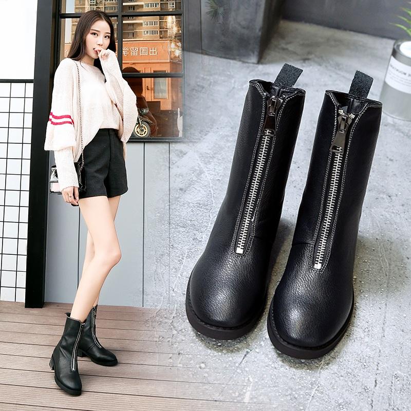 2018新款马丁靴女英伦风加绒秋冬机车粗跟中筒靴内增高前拉链短靴