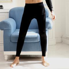 加绒薄款保暖裤秋冬季男士纯色打底裤单件裤子薄款线裤秋裤 黑色