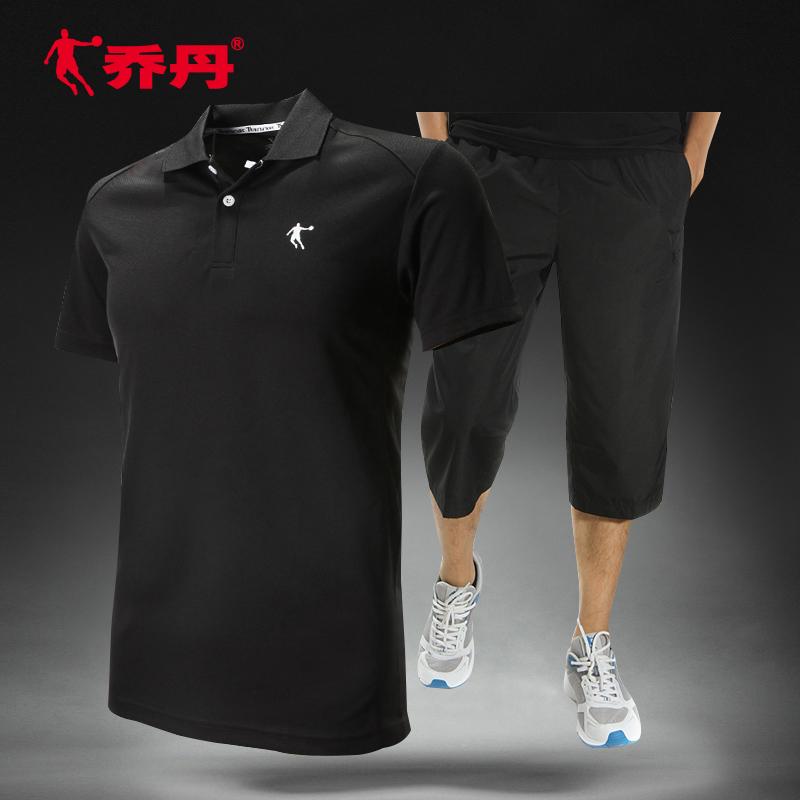 乔丹运动套装夏季七分裤t恤短裤男跑步短袖休闲套装运动服健身服