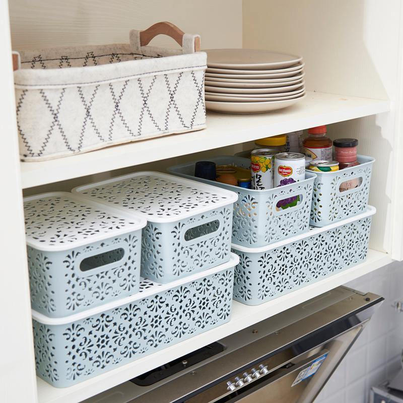 厨房镂空桌面收纳筐放衣服的收纳篮带盖衣物收纳盒储物箱塑料篮