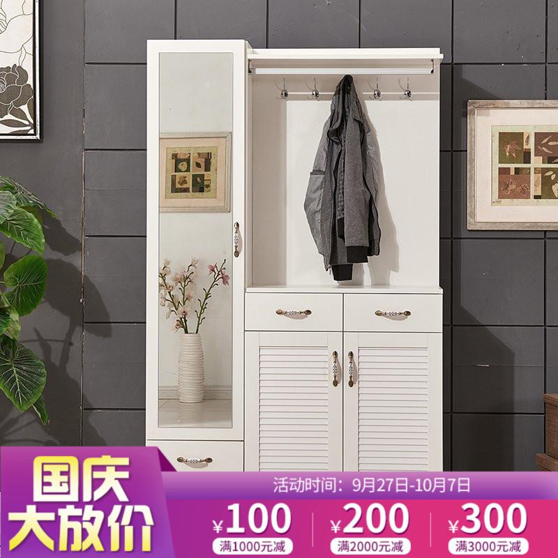 怡非百叶门鞋柜 简约现代门厅柜定制 穿衣镜玄关柜衣帽柜挂衣架