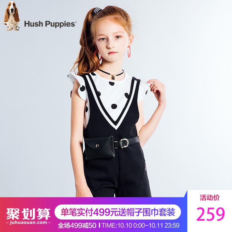 暇步士女大童2018夏装新款童装圆领T恤儿童吊带短裤针织两件套装