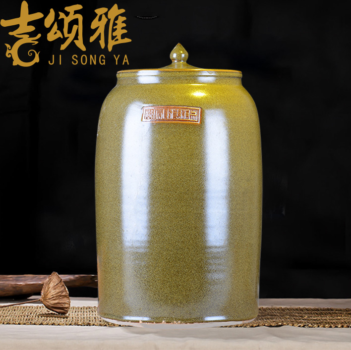 Ceramic tank barrel ricer box you can tap it at the end of the cylinder tea tea jingdezhen Ceramic cylinder wine jar