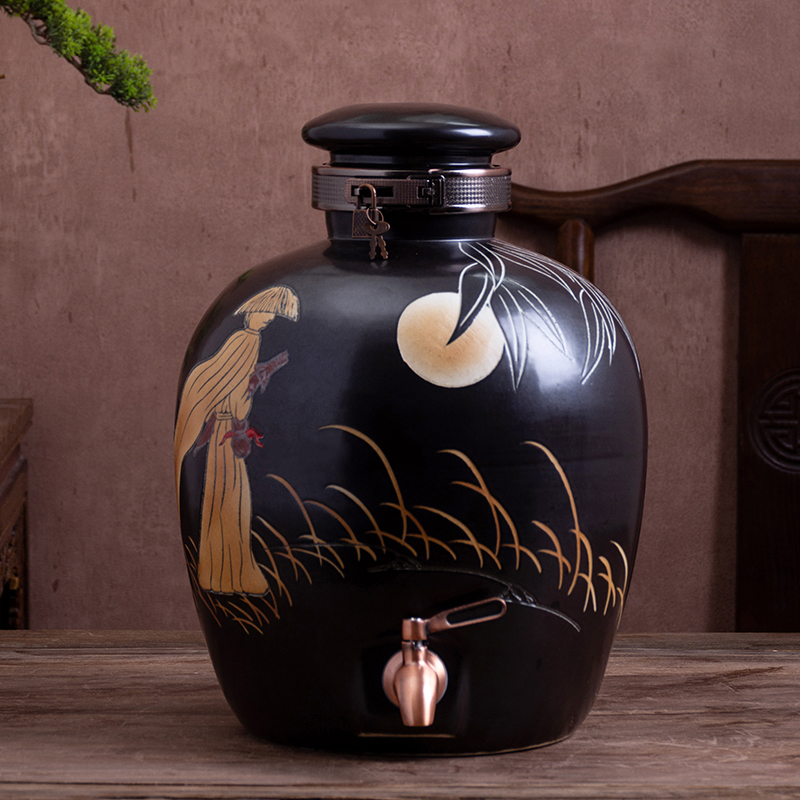 Jingdezhen ceramic terms bottle with tap 10 jins 20 jins 30 jins 50 jins install archaize home sealed jars jugs