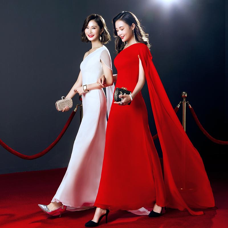 宴会晚礼服女2018新款红色主持人礼服长款高贵优雅修身显瘦连衣裙