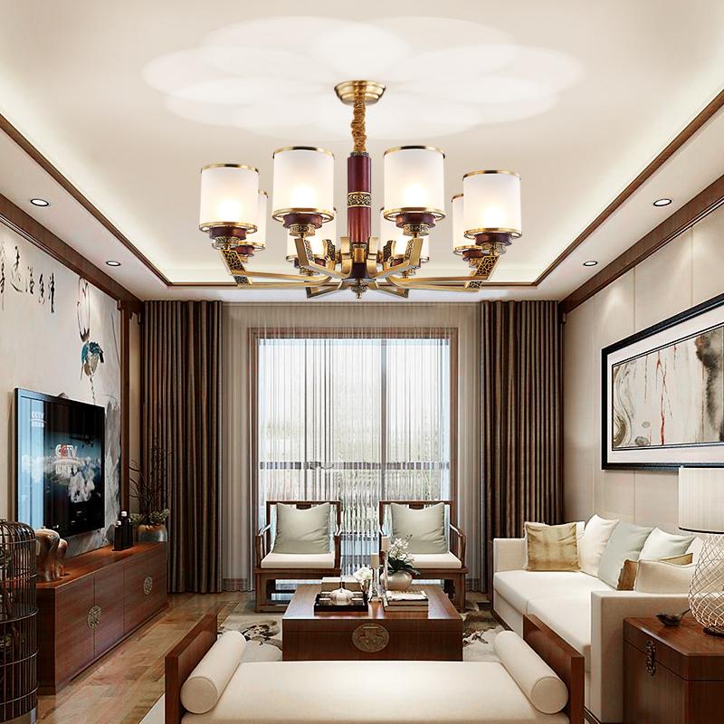 新中式吊灯客厅灯现代简约中式客厅全铜中国风铜木现代中式禅意灯