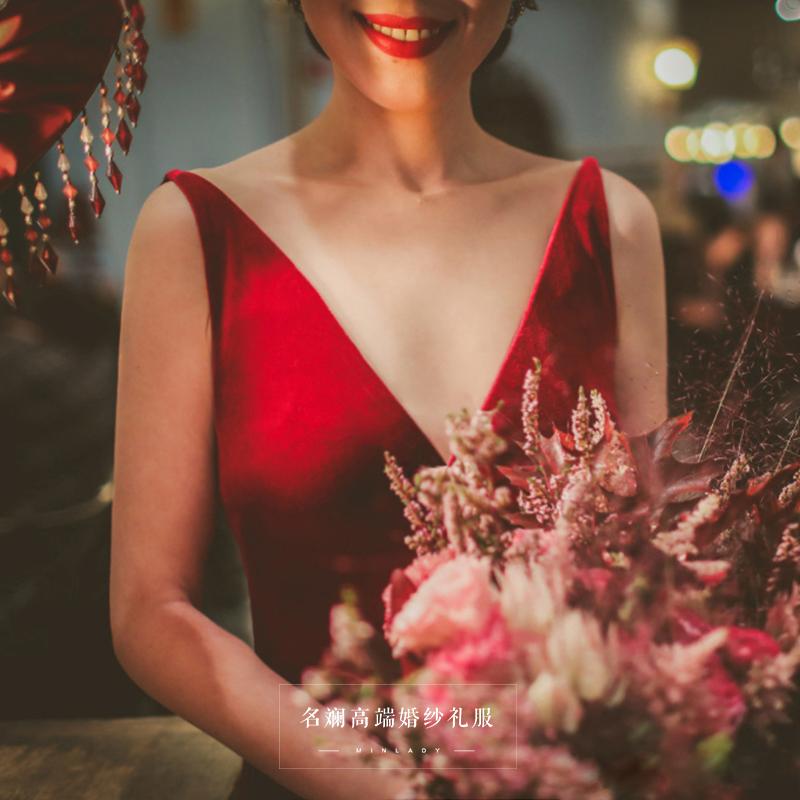 晚礼服2018新款深V露背宴会高贵优雅知性红色礼服连衣裙女敬酒服