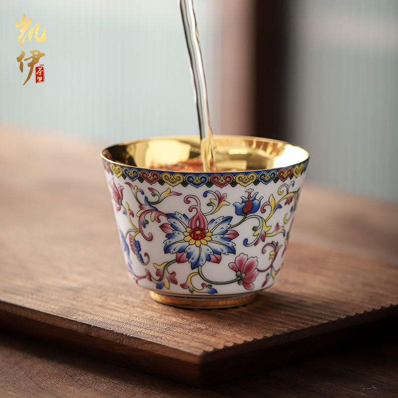 琺瑯彩鎏金沉香杯品茗杯功夫茶主人杯泡茶喝茶杯單個陶瓷茶杯金盞