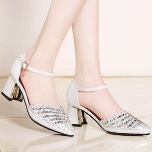 女士包头凉鞋女夏2017新款性感粗跟一字带高跟鞋夏季百搭水钻女鞋