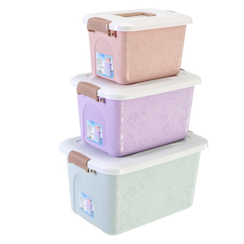沃之沃收纳箱塑料储物箱整理箱零食玩具手提箱子桌面化妆品收纳盒