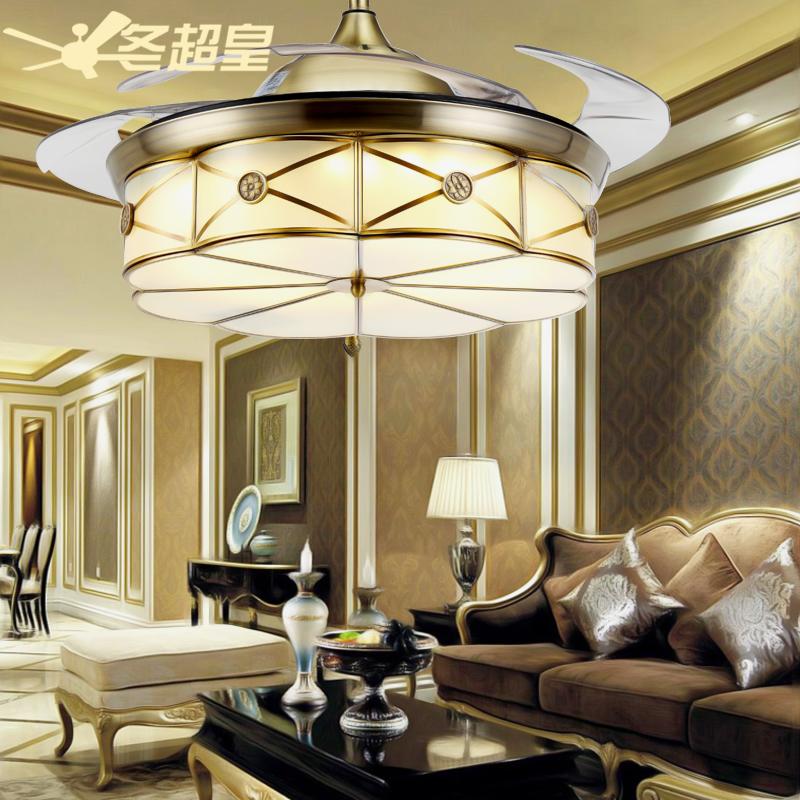 冬超皇隐形欧式全古铜吊扇灯 客厅风扇灯餐厅家用带电风扇的吊灯