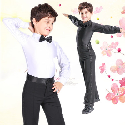 Children's Latin Dance Costume Long Sleeve Training Costume White Boy's Top Performance Costume Grade Examination Standard Costume