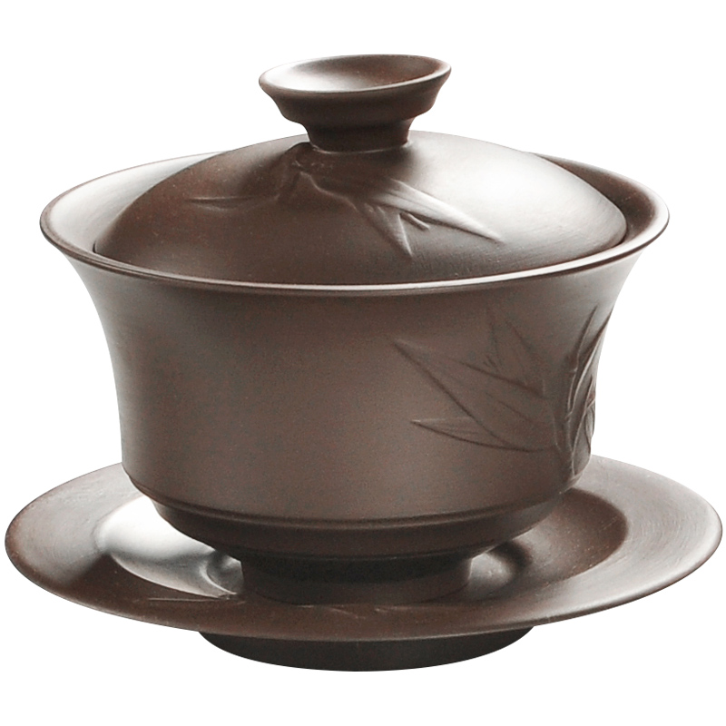 He undressed ore violet arenaceous tureen kung fu tea set manually old purple clay three bowl of tea accessories cup suit