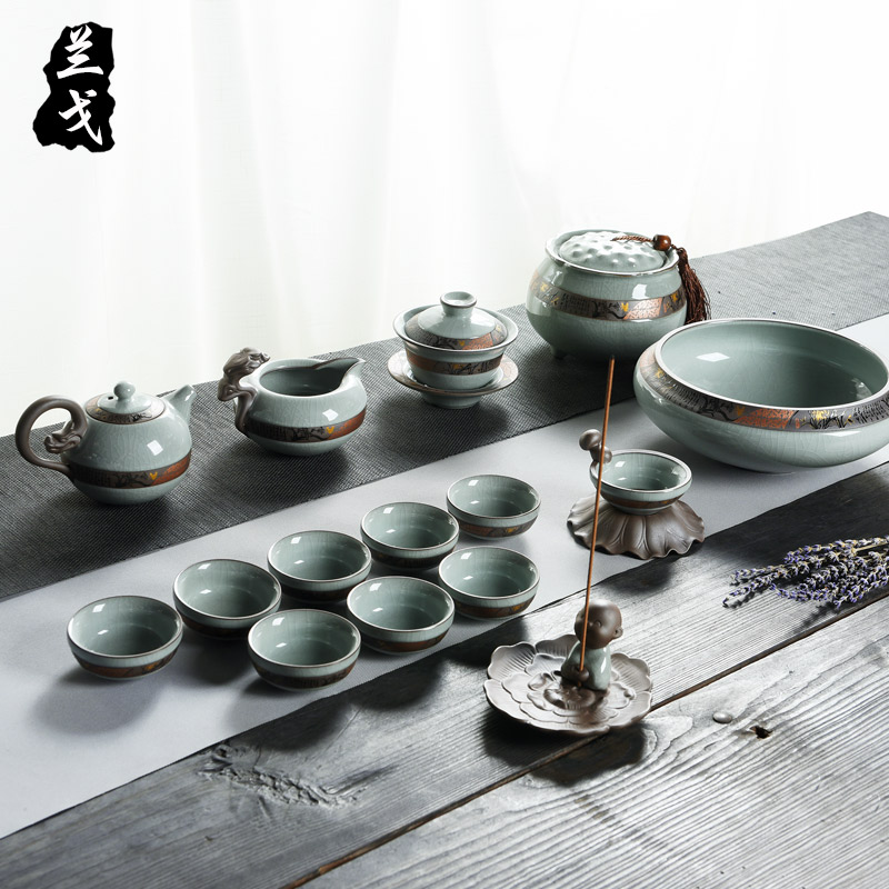 Having your elder brother up up kung fu tea set a complete set of household ceramic teapot your porcelain tea cups to wash to gift pack