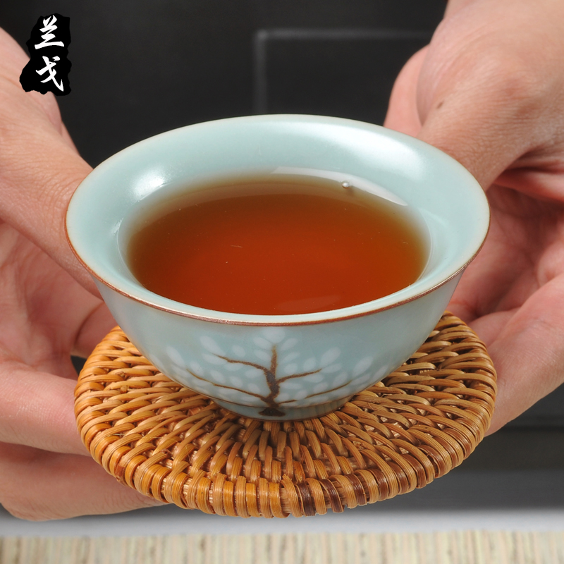 Having kung fu tea tea taking with zero suit old cane teacup pad suit hand - woven cup mat mat the teapot