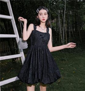 【盛夏精灵裙】提花可拆蝴蝶结印花公主莲雾蓬蓬连衣裙