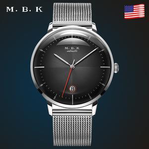 美国进口MBK手表男士全自动机械表防水超薄男表简约3D凸面dw潮流