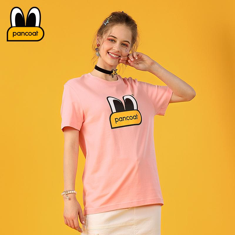 PANCOAT18秋粉色情侣款雾霾蓝大眼睛logo短袖T恤PCATE181205U