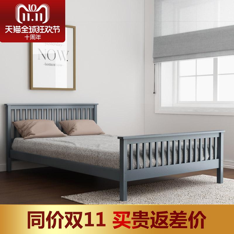 北欧简约全实木成人儿童床1.5-1.8米纯实木木双人床环保卧室家具