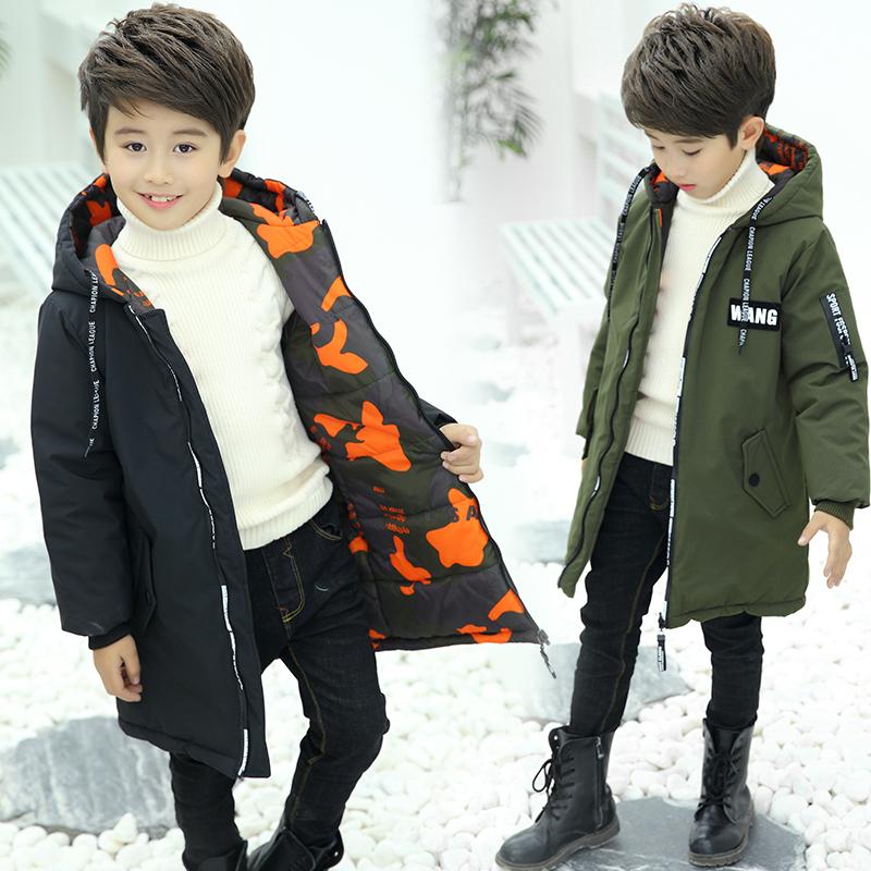 男童棉衣冬装儿童中长款加厚棉服大童羽绒棉袄冬季迷彩两面穿外套