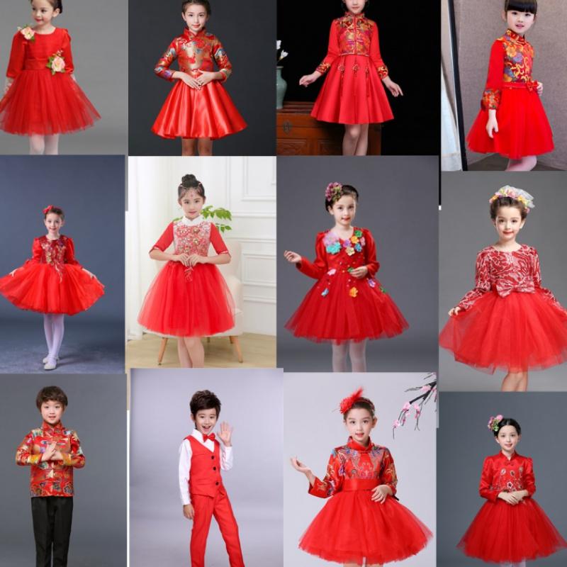 秋冬长袖红色儿童演出服小学生大合唱舞蹈服女童礼服蓬蓬裙中国风