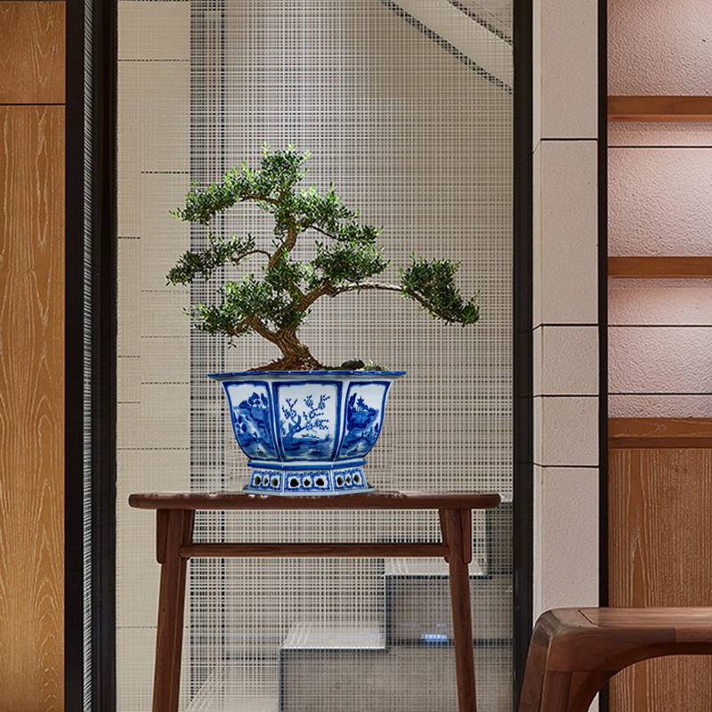 Anise jingdezhen blue and white flower pot ceramics hand - made podocarpus flowerpot to welcome orchid basin ancient potted the plants